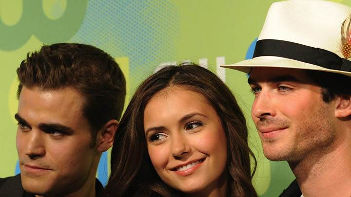 Nina Dobrev Smiling With Paul & Ian
