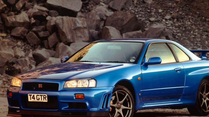 Nissan Skyline GT R R34 Bkue Color Side View
