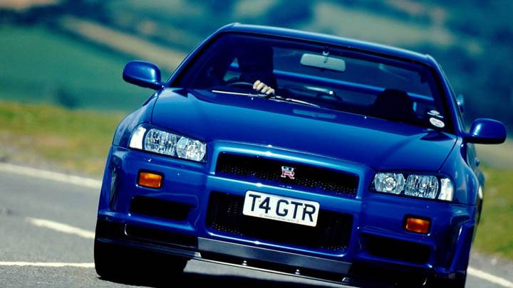 Nissan Skyline GT R R34 Blue Color On Highway