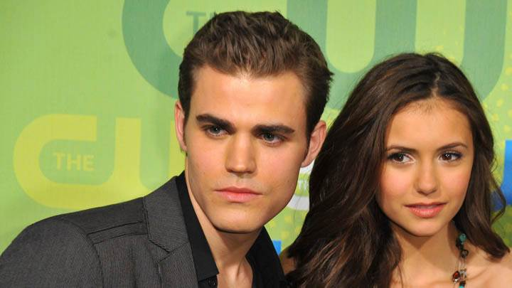 Paul Wesley With Nina Dobrev Smiling On Stage