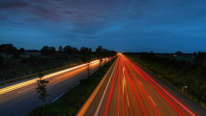 Red Led Lights On Highway At Evening