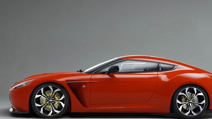 Side View Of Aston Martin V12 Zagato In Red Color