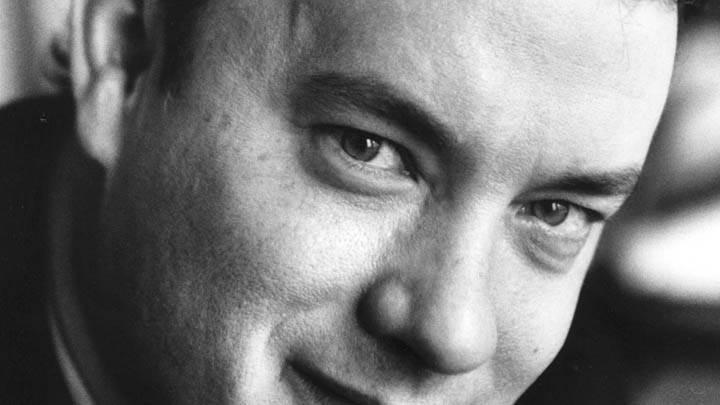 Tom Hanks Black & White Smiling Ultra Face Closeup