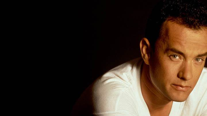 Tom Hanks In White T-Shirt & Black Background