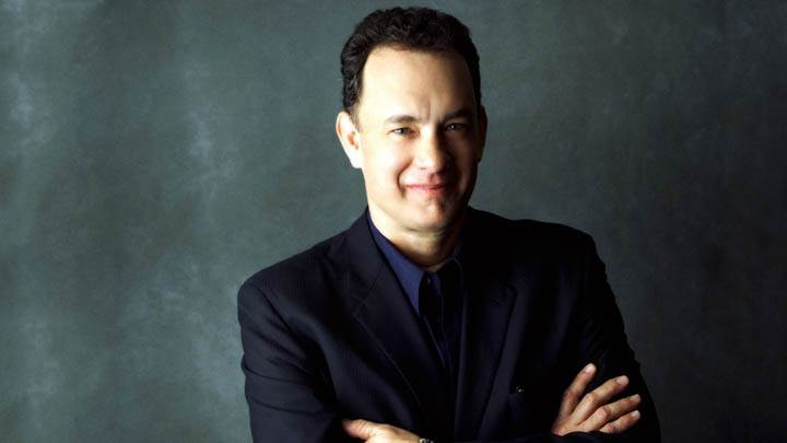 Tom Hanks Smiling Face In Black Coat