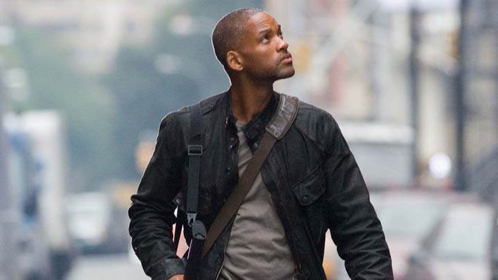 Will Smith Walking In Black Jacket In I Am Legend