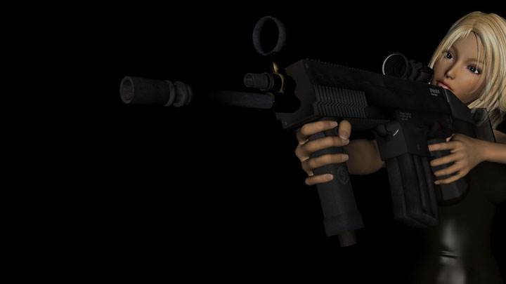 3D Girl Aiming At Someome
