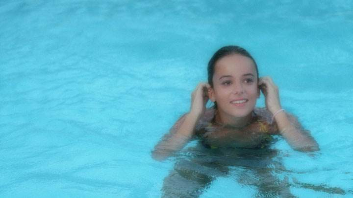 Alizee Jacotey Smiling In A Pool