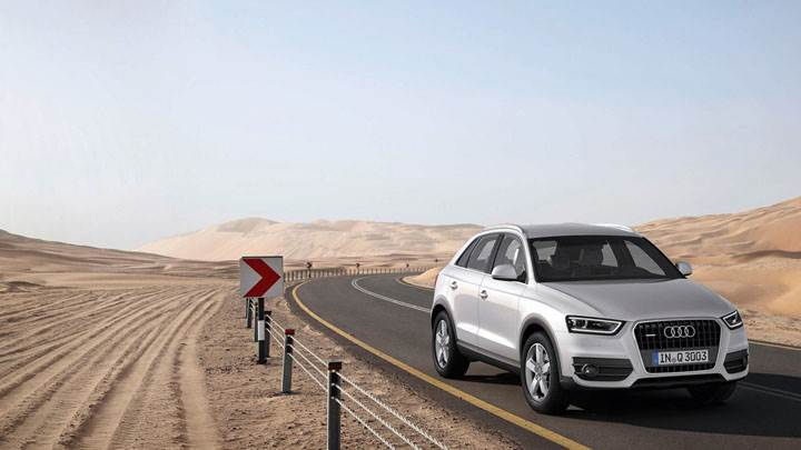 Audi Q3 in Desert Highway