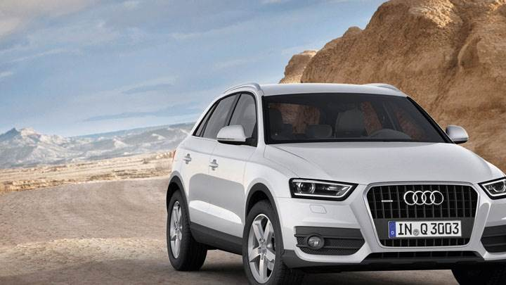Audi Q3 in White Color Closeup