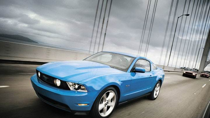 Blue Ford Mustang GT On Highway