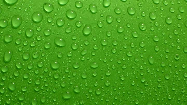 Drops On Green Background