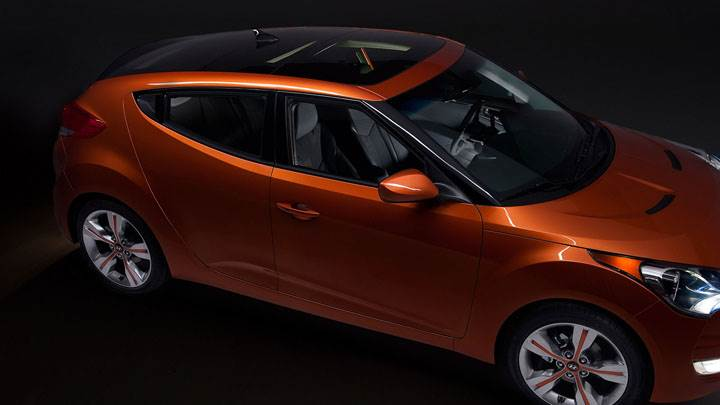 Hyundai Veloster Orange Color Side Top View