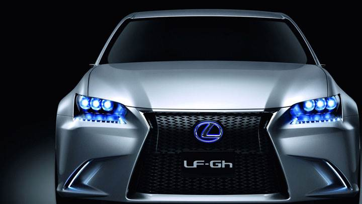 Lexus LF GH Hybrid Concept Front Pose With Blue Lights
