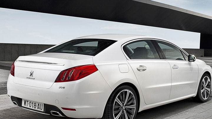 Peugeot 508 Saloon Back Pose in White Color