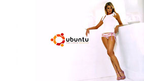 Sexy Girl In Ubuntu Ad & White Background