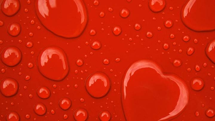 Water Drop Hearts On Red Background