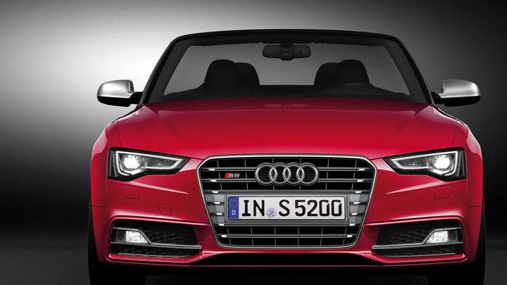 2012 Audi S5 Cabriolet Front View in Red Color