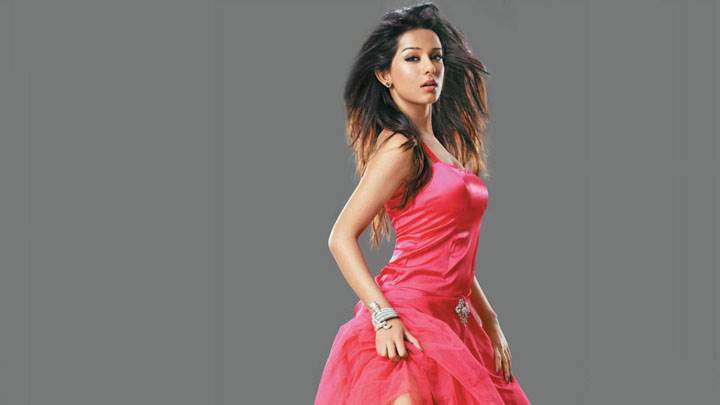 Amrita Rao In Red Dress Hot Looking And Grey Background