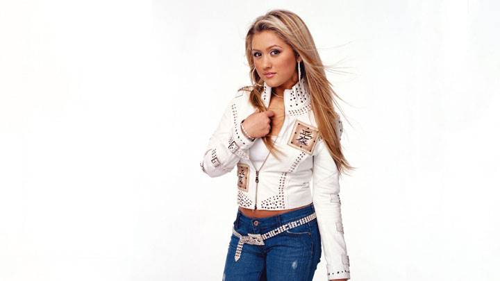 Angel Faith In Top And Jeans And White Background