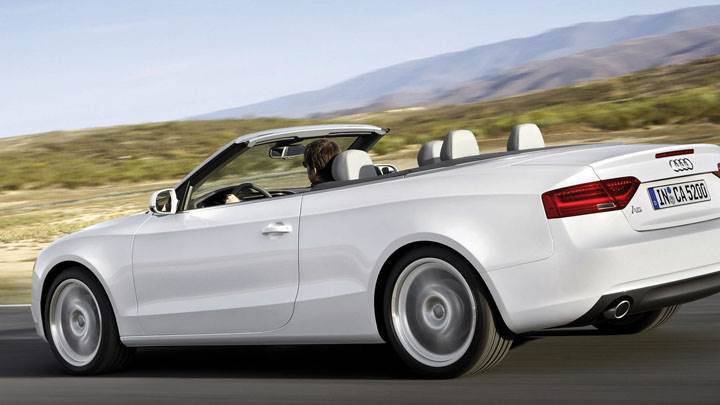 Audi A5 Cabriolet 2012 White Running Side Back Pose