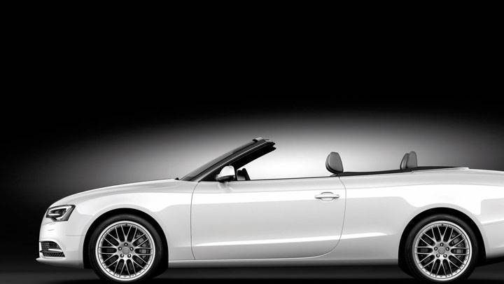 Audi A5 Cabriolet 2012 in White Side Pose Black Backgrond