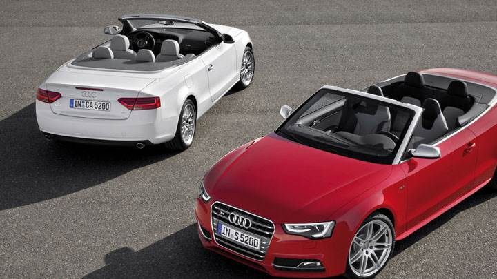 Audi A5 Cabriolet in White And Red – Front And Back Pose
