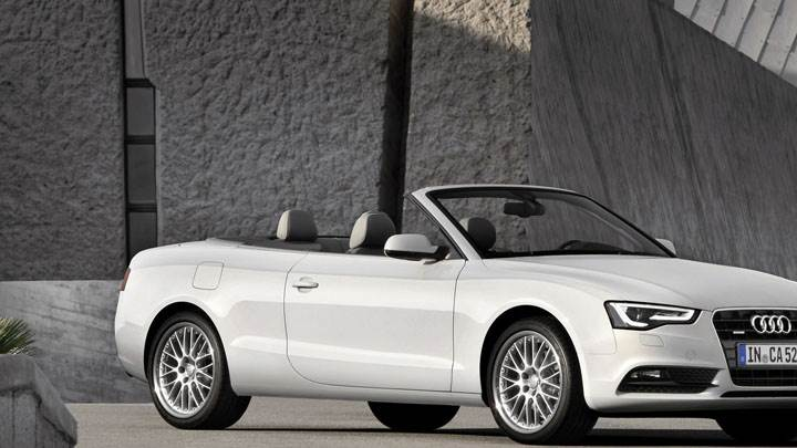 Audi A5 Cabriolet on Road in White