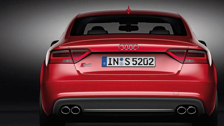 Back Closeup Pose of Red 2012 Audi S5 Sportback
