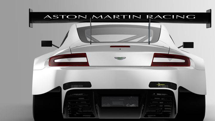 Back Pose of 2012 Aston Martin V12 Vantage GT3 in White