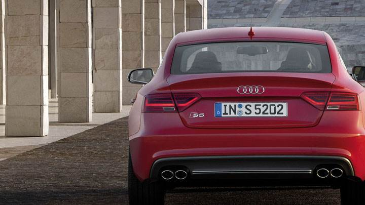 Back Pose of Red Color 2012 Audi S5 Sportback