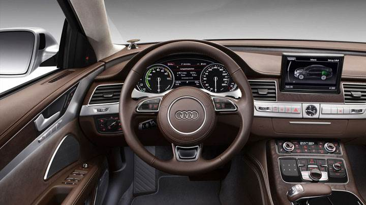 Brown Interior of 2012 Audi A8 Hybrid