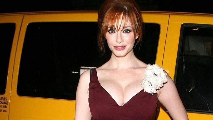Christina Hendricks Smiling In Brown Dress