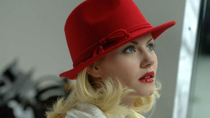 Cute Side Face Closeup Of Elisha Cuthbert In Red Lips And Hat