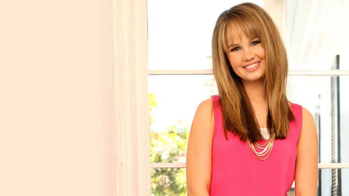 Debby Ryan Smiling In Pink Dress And Sweet Face