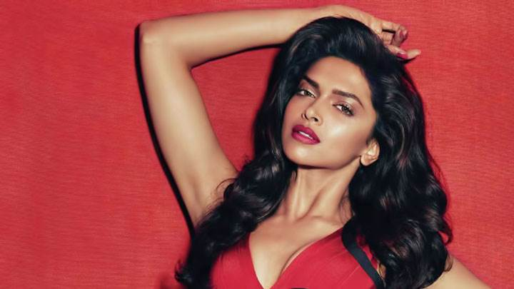 Deepika Padukone Red Lips In Red Dress And Background