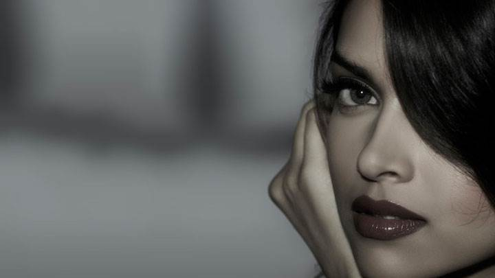 Deepika Padukone Side Face Closeup Black And White Background