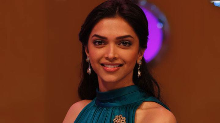 Deepika Padukone Smiling In Blue Dress