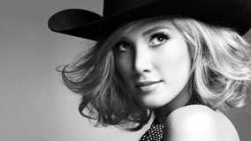 Delta Goodrem Black And White Face Closeup