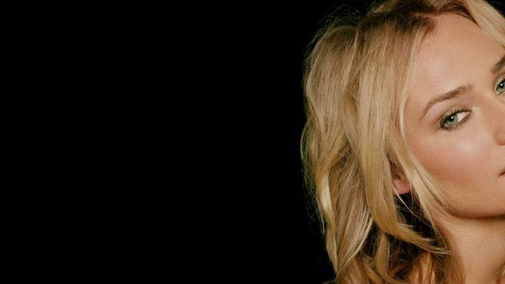 Diane Kruger Golden Hairs And Black Background Face Closeup