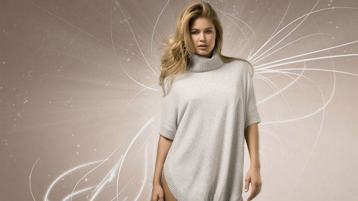 Doutzen Kroes In White Dress And Modeling Pose