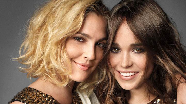 Drew Barrymore And Ellen Page Smiling Face Closeup