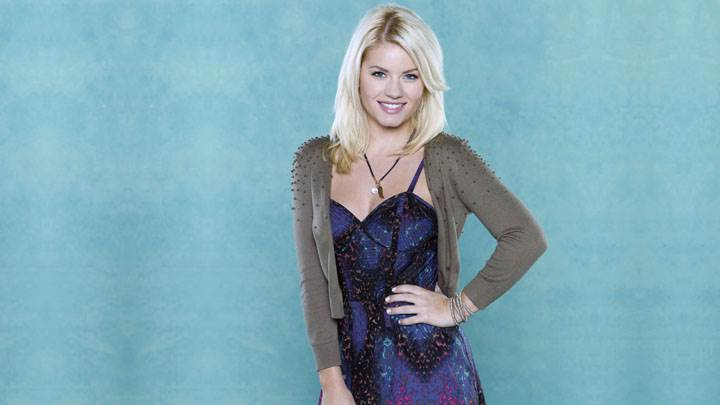 Elisha Cuthbert Smiling In Blue Dress Modeling Pose