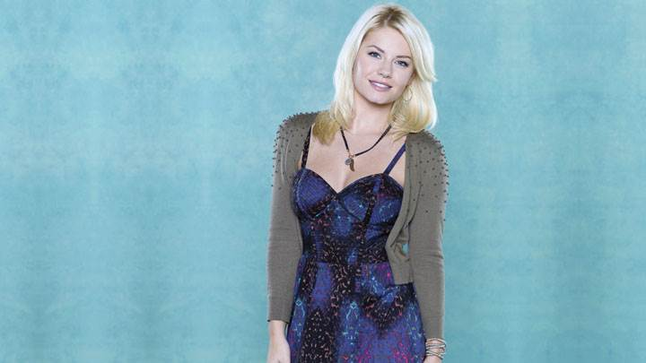 Elisha Cuthbert Sweet Smiling In Blue Dress And Background