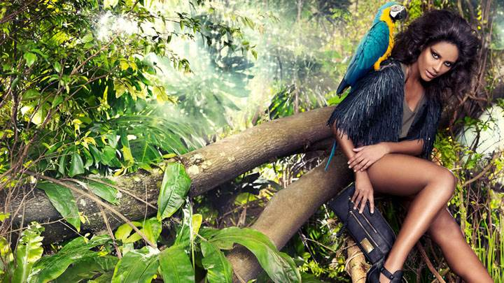 Emanuela De Paula Sitting On Tree Photoshoot