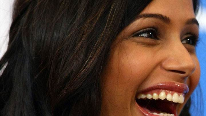 Freida Pinto Laughing Madly Face Closeup