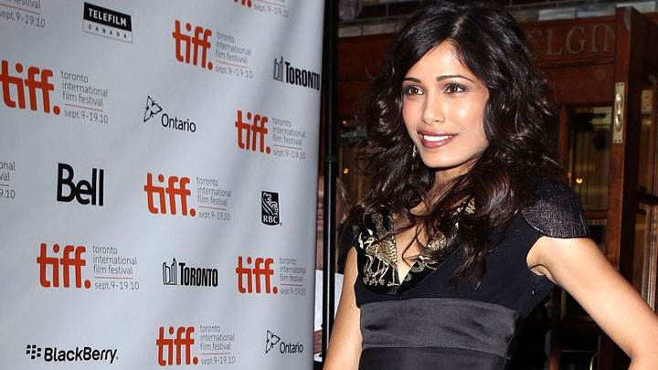 Freida Pinto Side Face And Pink Wet Lips