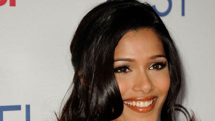 Freida Pinto Smile And Orange Wet Lips