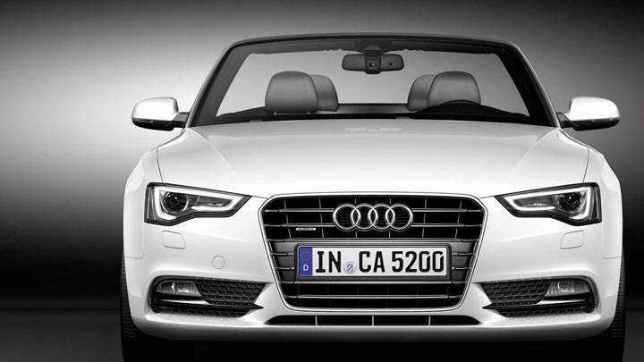Front Pose of Audi A5 Cabriolet 2012 in White
