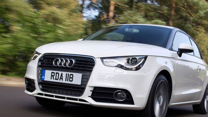 Front Pose of White 2012 Audi A1 1.6 TDI